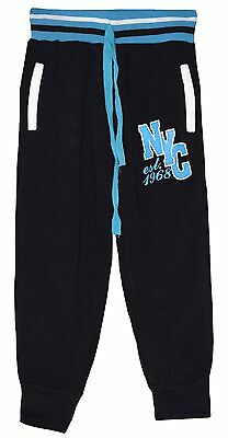 "Boy Girl Black/blu Fleece Lined ""nyc"" Joggers Joging Pants Trousers 5-6 Years"