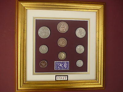 FRAMED 1947 COIN SET 70th  BIRTHDAY GIFT IN 2017