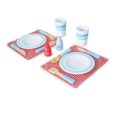 NEW Indigo Jamm Wooden Dinner Set - Includes Plates, Cups, Cutlery, Placemats