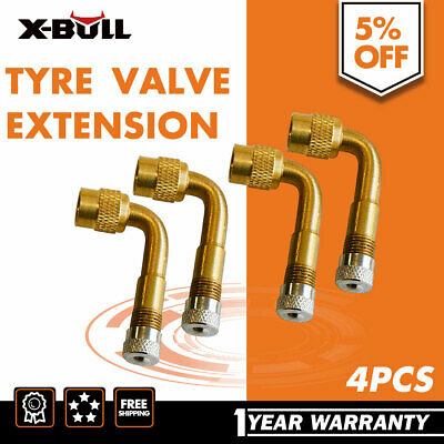 X-BULL 4PCS Tyre Valve Extension Adaptor 90 Degree Brass Car Bike Moto Angle 4WD