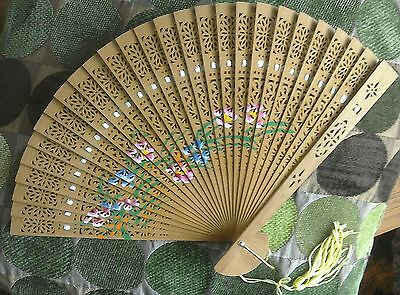 Vintage Ladies Decorative Painted Wooden Hand Fan In Box