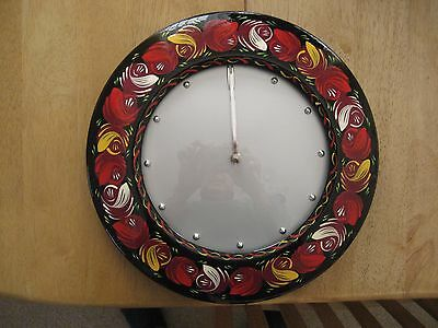 Hand painted wall clock in the style of narrow boat ,canal boat,folk art.