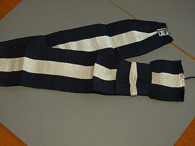 Vintage Eastbourne College boater trim band with blue white stripes