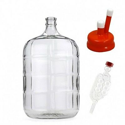 5 Gallon Glass Carboy Fermenter with Rubber Vent Cap & Airlock home brew bee