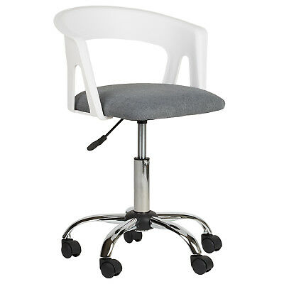 Hartleys White/grey Fabric Adjustable Swivel Computer Office Desk Table Chair