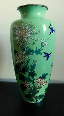 Beautiful Antique Japanese Cloisonné Vase - Silver Wire With  Silver Mounts