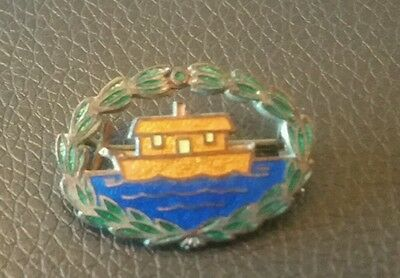 Vintage  Enamel Badge Houseboat With Leaves Around Outside ?