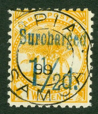 SG 75b Samoa 1½d on 2d yellow. Very fine used Apia CDS
