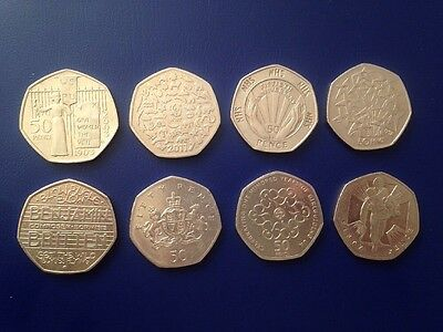 X8 Rare 50p Coins Suffragette WWF NHS EEC Benjamin Britton Ironside Girl Guides