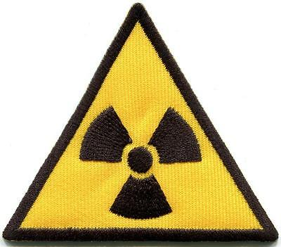 Radiation sign symbol danger warning embr. applique iron-on patch S-1321