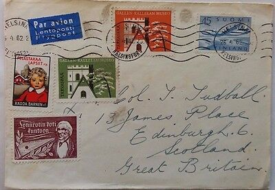 Finland 1962 Airmail Cover With Four Promotional Labels