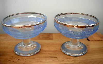 Retro  ice cream sundae dishes  c1950s Textured blue & clear glass