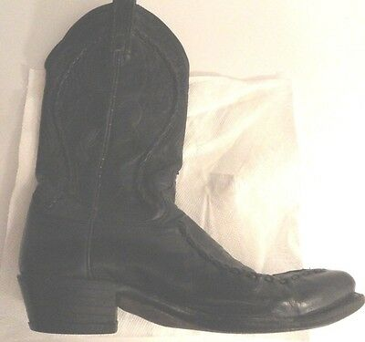 Vintage Western Style Leather Boots Size 8.5 Black Dan Post
