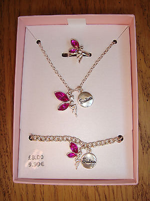 Pink Jewel Fairy *Sisters* Gift Set - Necklace Bracelet & Ring