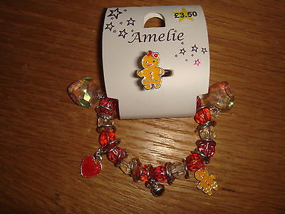 BNWT Gingerbread Ring and Sparkly Bracelet Set