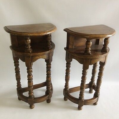 Pair of French oak country Demi lune tables      a14141