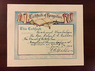 1945 Acolyte Certtificate Episcopal Church of the Holy Cross North Plainfield NJ