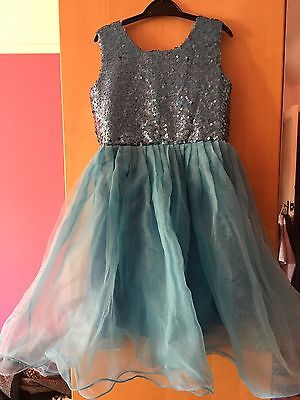 Girls Party Dress Blue With Sequins Age 7-9 Years
