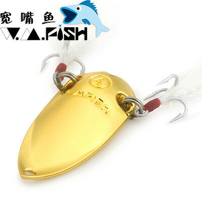 JUYANG Cicada Spoon Metal Lure With Treble Hook Feathers Gold Silver Luminous
