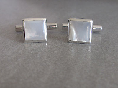 Vintage Solid sterling silver and mother of pearl cufflinks