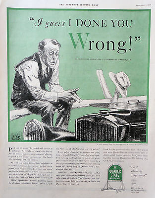 1934 ORIG PRINT AD QUAKER STATE MOTOR OIL I guess I done you wrong! man on fence