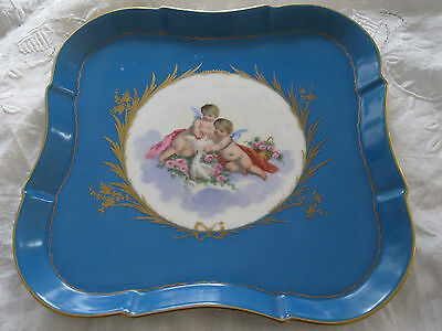 18-19th Cent. Sevres Porcelain Blue / Gold Square Tray With Cherubs