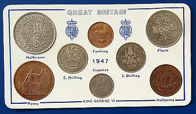 George Vi 1947 Year Set In Display Wallet - 8 Coins - Many High Grades