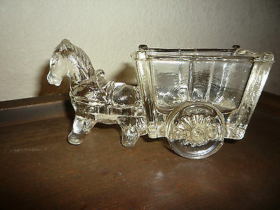 Antique Glass Horse & Pull Cart Candy Container Mule Donkey Dish