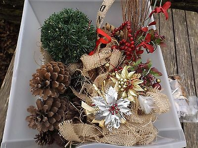 Bundle Of Christmas Wreath Decorations. Pine Cones. Plastic Berries. Burplap.