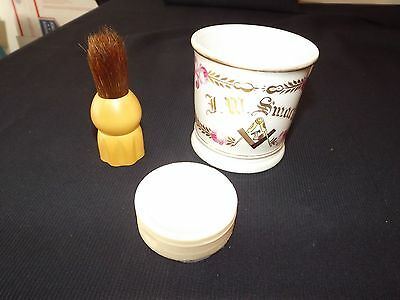 Vintage Ever-Ready 100 Shaving Brush - Gold Etched Mug - Soap Mid Century