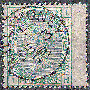 Great Britain QV 1873-80 SG150 1/- Green (plate 13) Winged Used Slight Thin