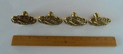 """Four Vintage Brass ~ Drawer Cabinet Knobs Pulls ~ 3"""" by 1 1/2"""" Antiqued"""