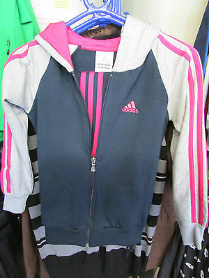 Size 9-10 Years Adidas Originals 3 Stripe Full Zip Hooded Jog Fleece Tracksuit