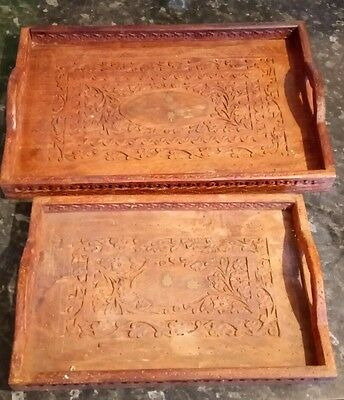 2 x Indian Antique Vintage Brass inlaid Hand Carved Wooden Trays