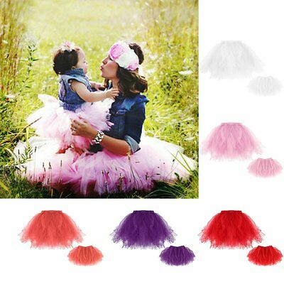 Mother Daughter Tutu Skirt Dresses Women Kid Girl Lace Party Gown Bubble Skirt