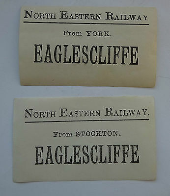 2 Different North Eastern Railway (Ner) Luggage Labels To Eaglescliffe