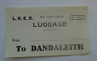 London & North Eastern Railway (Lner) Label From ...........  To Dandaleith