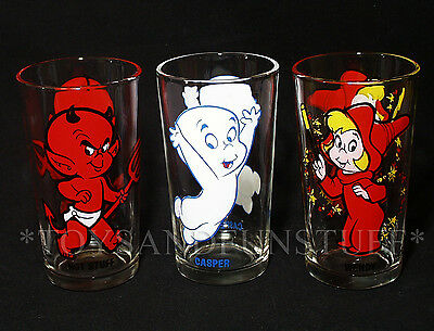 Casper WENDY Hot Stuff 3 HARVEY CARTOONS Drinking Glasses PEPSI COLLECTOR SERIES