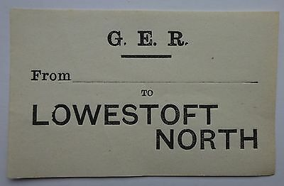 Great Eastern Railway (Ger) Luggage Label From ...... To Lowestoft North