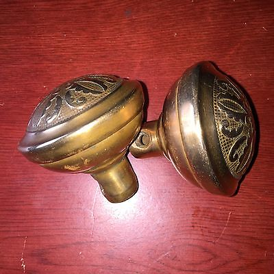 Antique Pair Of Victorian Vernacular Montrose  Solid Heavy Brass Door Knobs.