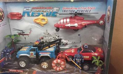 beach rescue play set - car ,truck and helicopter + more !!