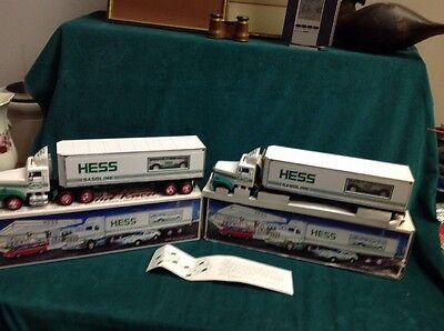Lot Of Two (2) 1992 Hess Toy Truck 18 Wheeler and Racer Both In Boxes. Very Nice