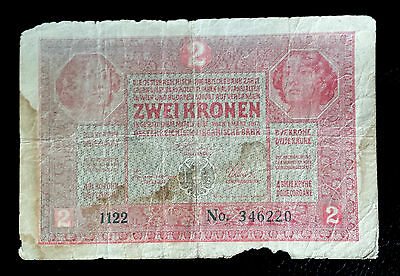 ***One Austria-Hungary Vintage 1914 Red 2 Krona Banknote Papermoney***