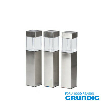 Set Of 3 Grundig Solar Stainless Steel Bollard Garden Pathway Post Patio Lights