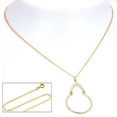 """14K Gold Charm Holder 34mm 18"""" Chain Jewelry"""