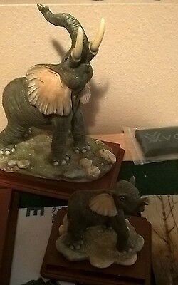 Elephant Collectible Wildlife Animal Figurine Statue Sculpture Models Set of 2
