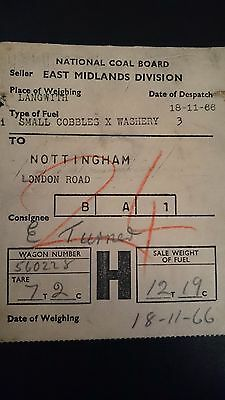 National Coal Board Ncb Wagon Label- 1G Langwith - Nottingham - 18.11.66