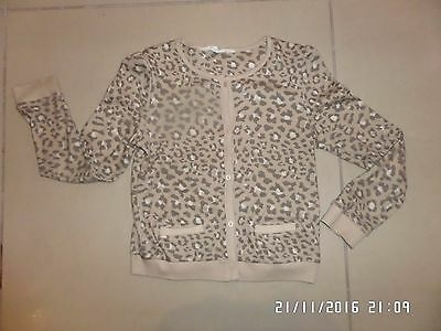 H&m Girls Animal Print Jersey Cardigan 6 - 8 Years Excellent Condition