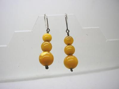 Antique Russian Marked Silver Natural Egg Yolk Amber Triple Drop Earrings