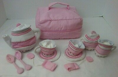 PBK Pottery Barn Kids Cloth PINK Tea Set CARRY Case